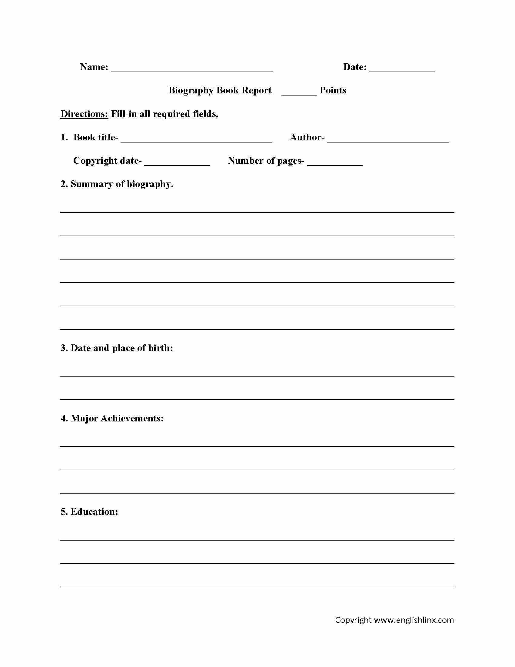 Book Report Examples 5th Grade Elegant Biography Book Report Worksheets Englishlinx Board
