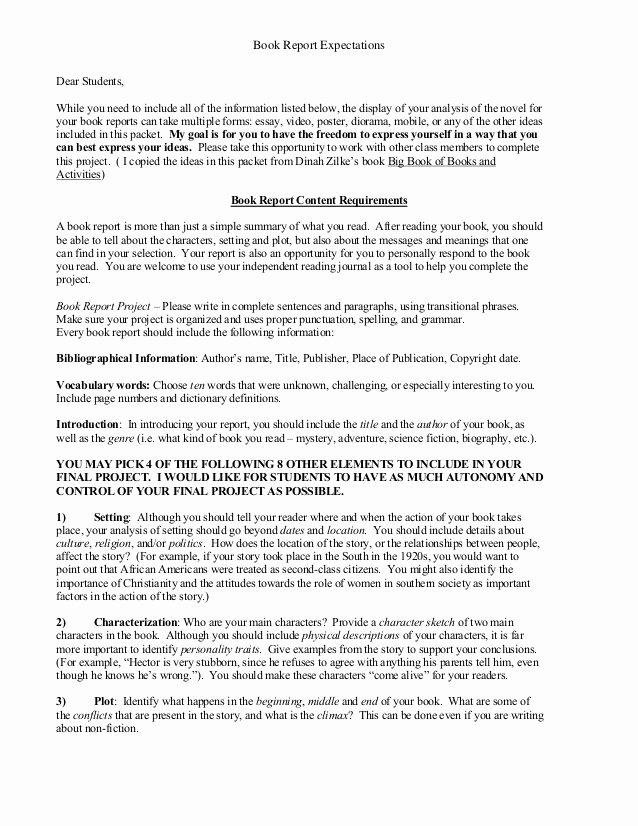 Book Report Examples 5th Grade Elegant Book Report Expectations Schoolfy