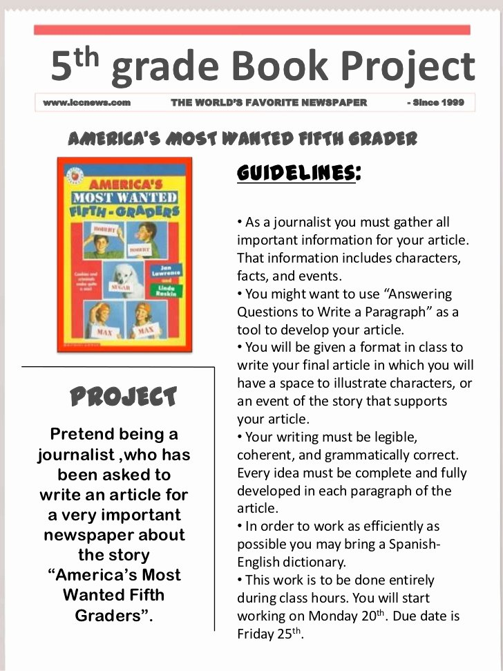 Book Report Examples 5th Grade Lovely Book Project Template