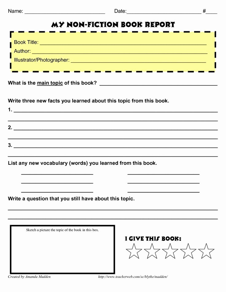 Book Report Examples 5th Grade Luxury Grade 4 Book Report Template Non Fiction Book Reports Pinterest