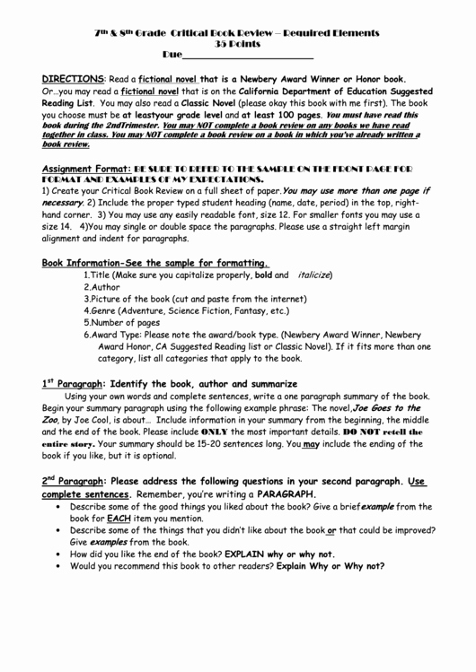 Book Review Template Pdf Best Of 7th 8th Grade Critical Book Review Chico Christian School Printable Pdf