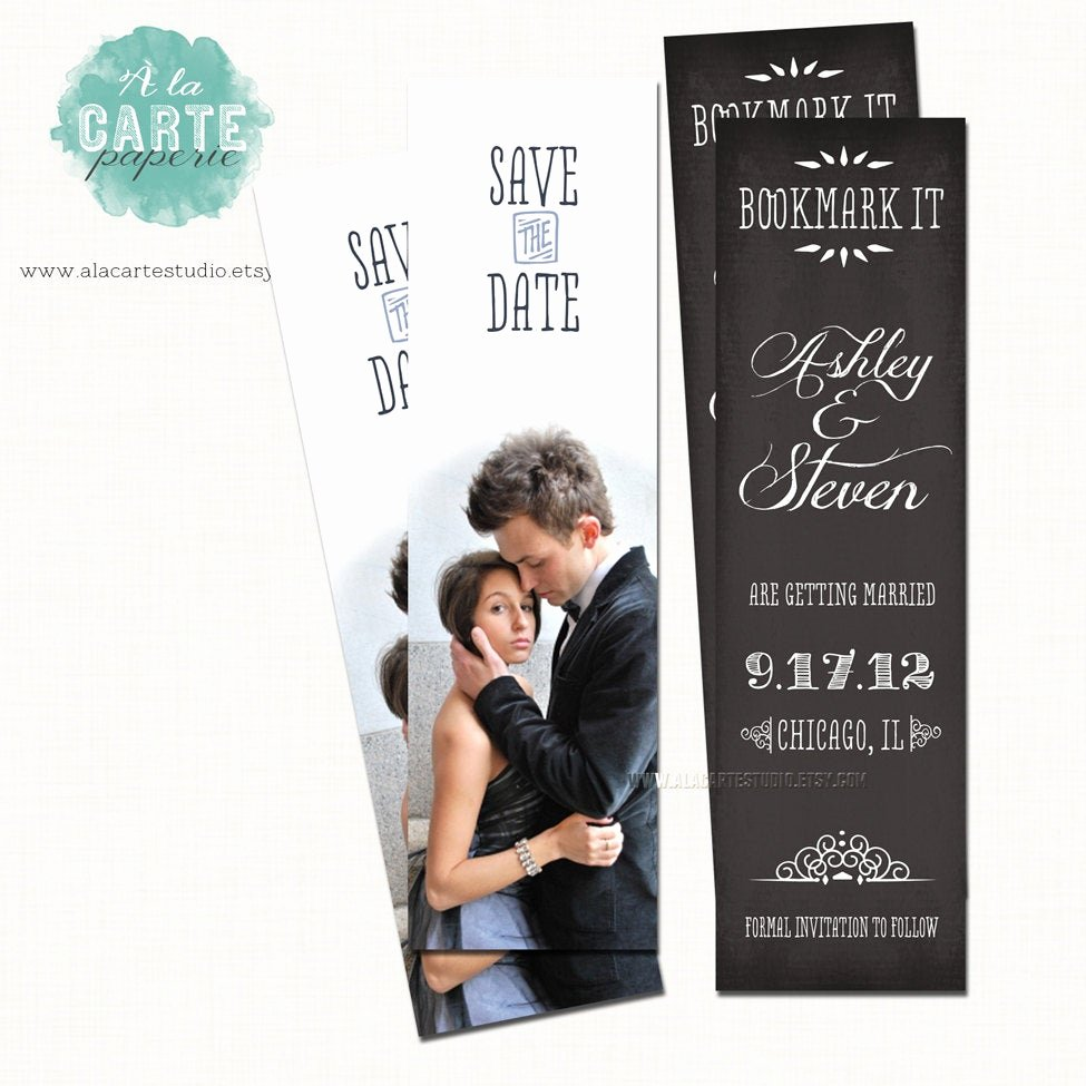 Bookmark Save the Date Beautiful Save the Date Bookmark Chalkboard Save the Date by Alacartepaperie