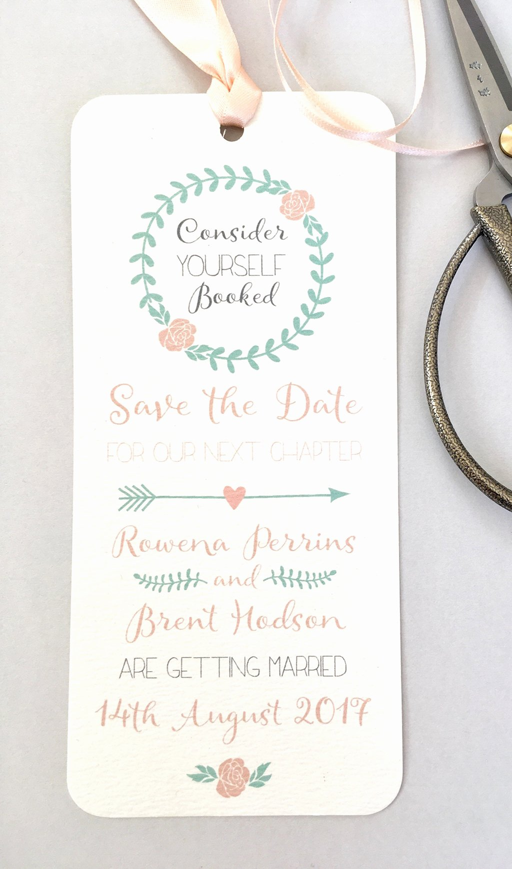 Bookmark Save the Date Fresh Bookmark Save the Date Eaton Wedding Stationery