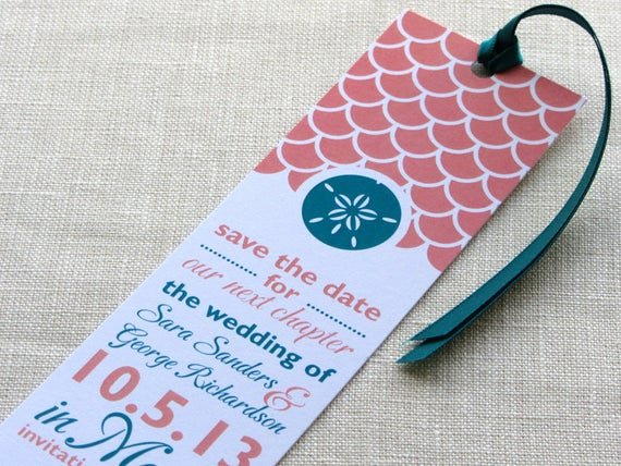 Bookmark Save the Date Fresh Sand Dollar Bookmark Save the Date Wave Scallop Print with
