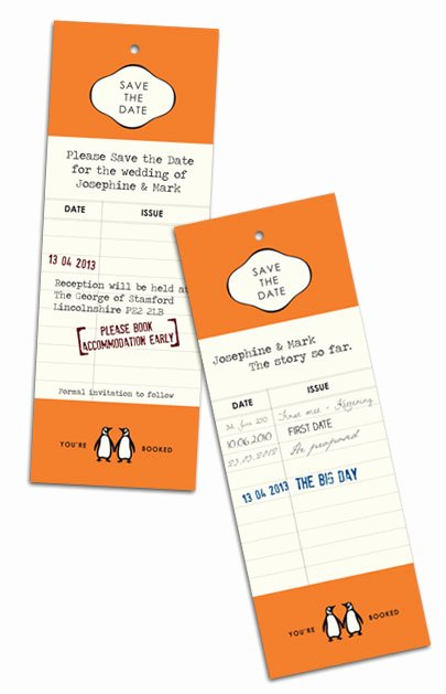 Bookmark Save the Date Inspirational Retro Wedding Invitations