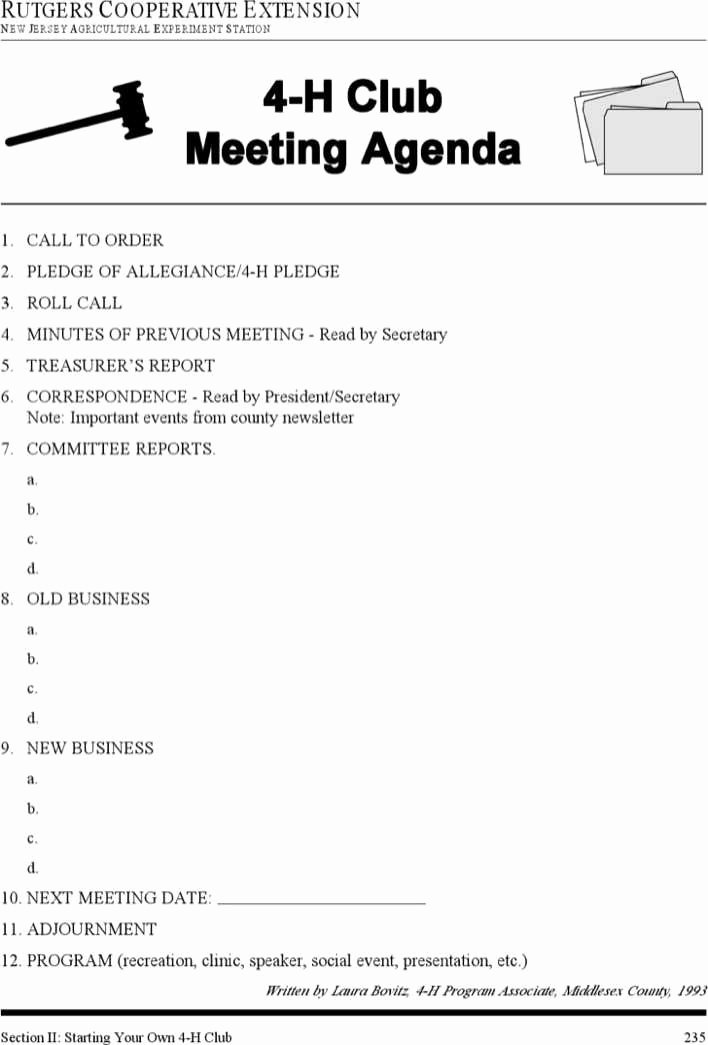 Booster Club Treasurer Report Template Awesome Download 4 H Club Meeting Agenda Template for Free Tidytemplates