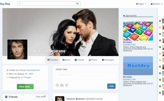 Bootstrap social Network Template Awesome Day Day V1 Bootstrap social Network Template