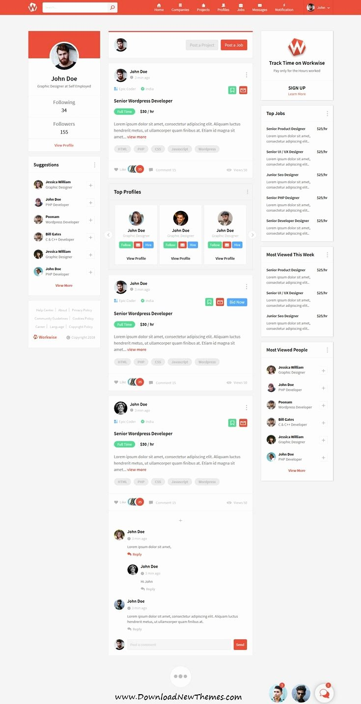 Bootstrap social Network Template Inspirational Workwise is A Clean and Modern Design Responsive Bootstrap HTML Template for Freelancer and