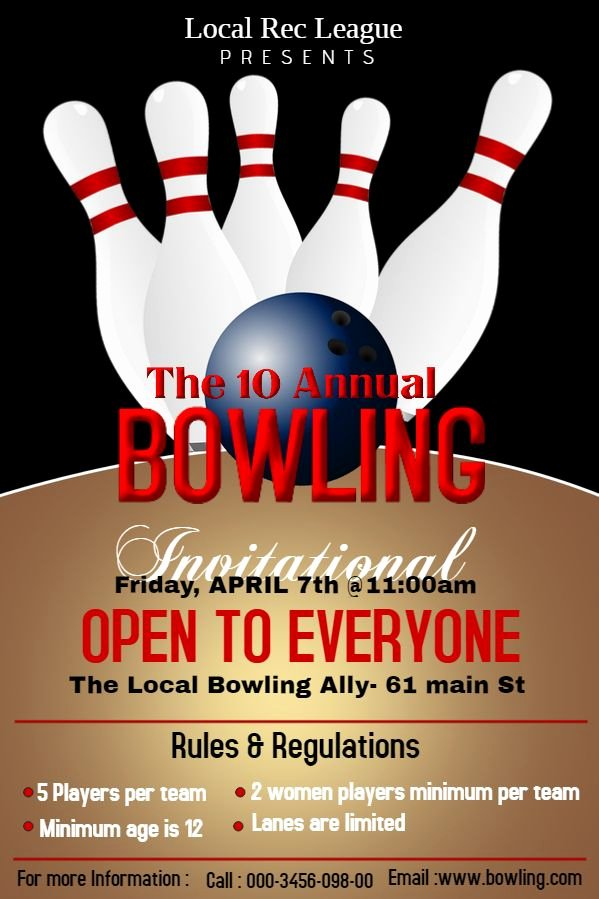 Bowling Flyer Template Free Awesome Bowling tournament Poster Flyer Design Template Sports Poster Templates