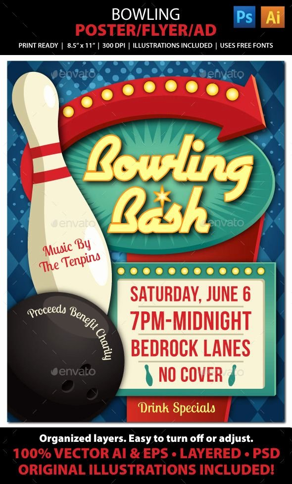 Bowling Flyer Template Free Beautiful Bowling event Poster Flyer or Ad This Retro Poster Flyer Ad is the Perfect Way to Advertise