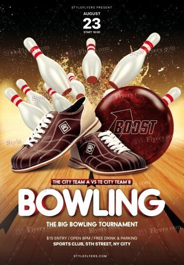 Bowling Flyer Template Free Beautiful Bowling Psd Flyer Template Styleflyers