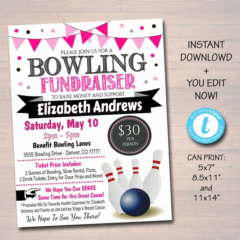 Bowling Flyer Template Free Fresh Editable Cancer Bowling Fundraiser Flyer Printable Pta Pto