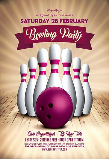 Bowling Flyer Template Free Inspirational Bowling Party V02 – Flyer Psd Template – by Elegantflyer