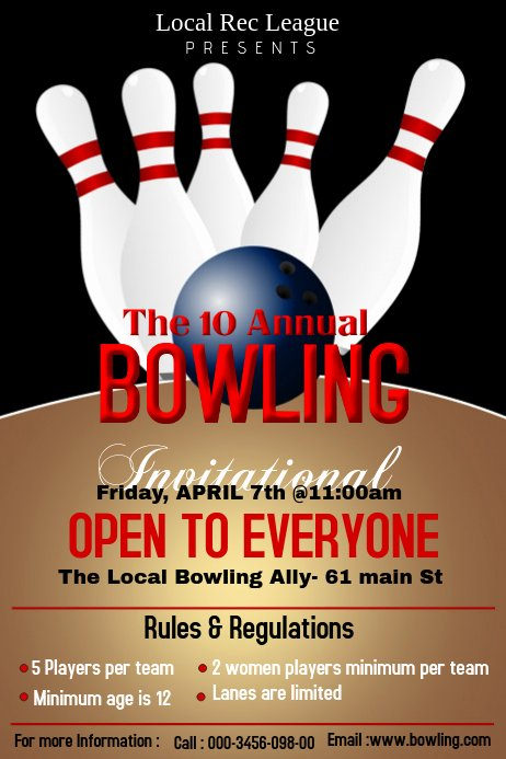 Bowling Flyer Template Free Lovely Bowling Poster Template