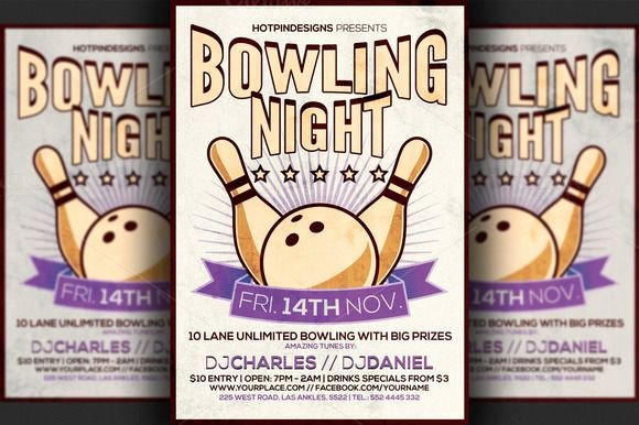 Bowling Flyer Template Free New Bowling Night Flyer Template