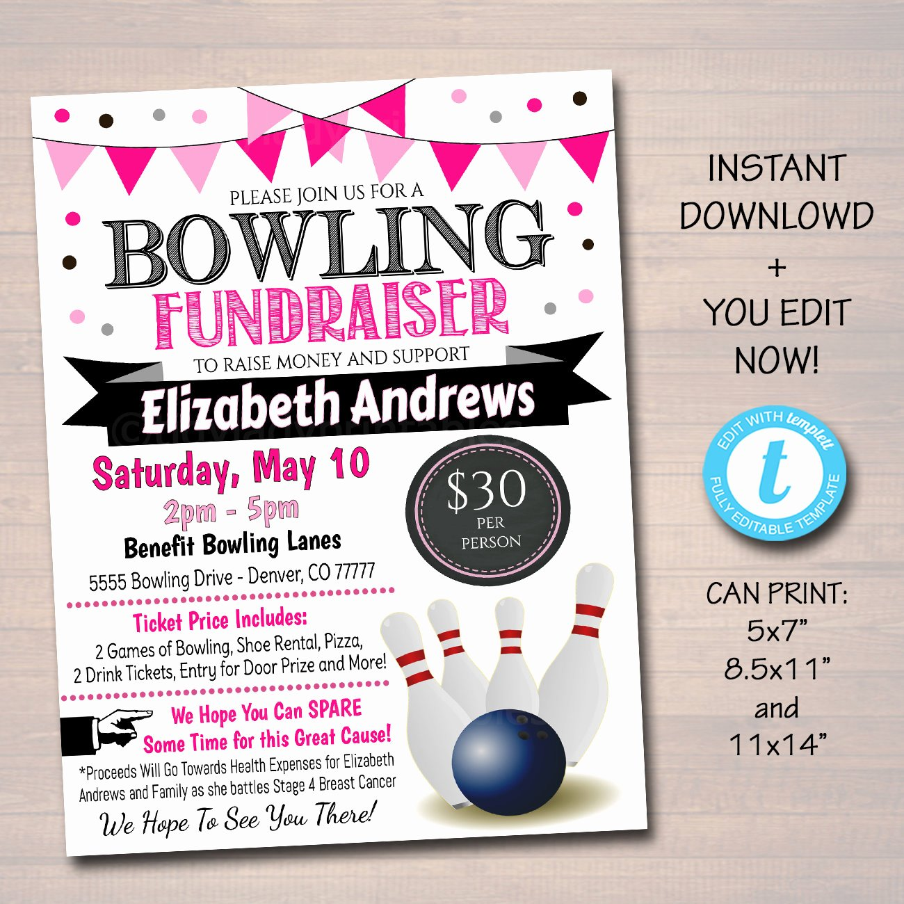 Bowling Fundraiser Flyer Template Awesome Editable Cancer Bowling Fundraiser Flyer Printable Pta Pto