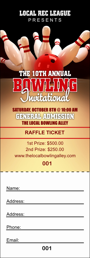 Bowling Fundraiser Flyer Template Inspirational Bowling League Raffle Ticket