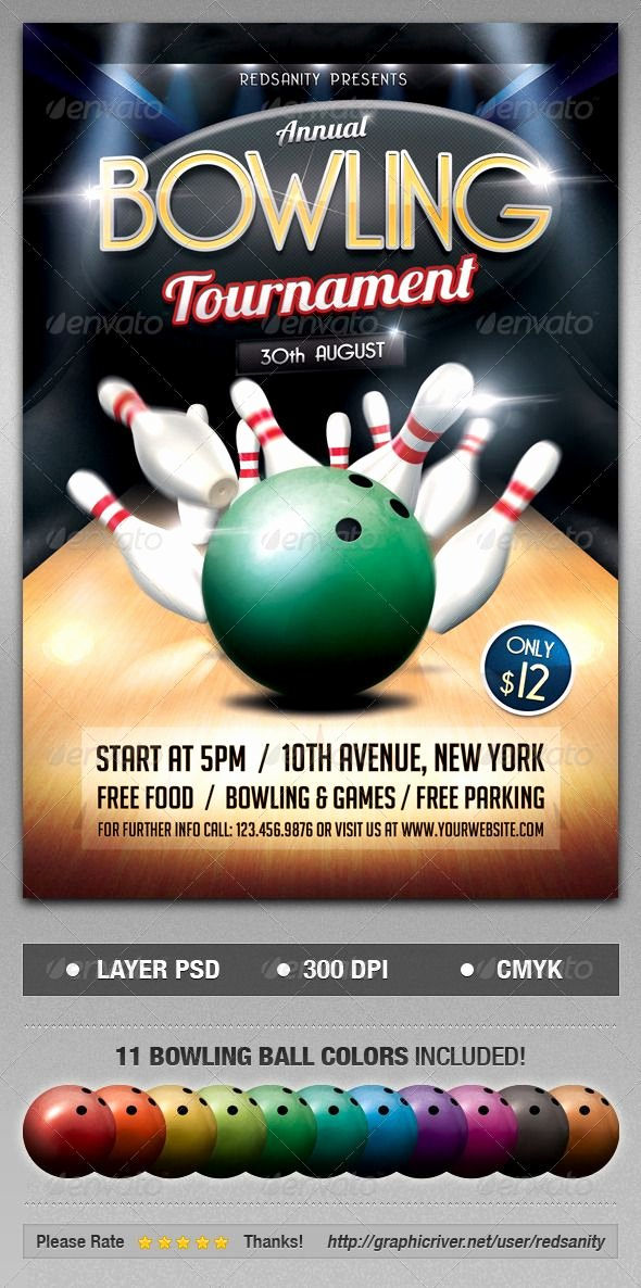 Bowling Fundraiser Flyer Template Luxury Bowling tournament Flyer