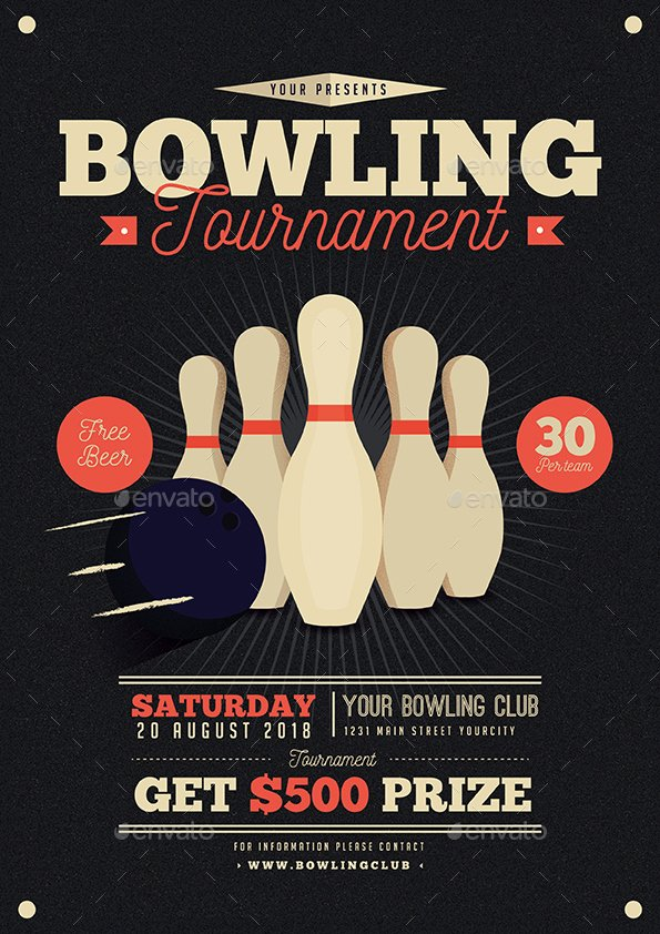 Bowling Fundraiser Flyer Template Luxury Vintage Bowling tournament Flyer by Guuver
