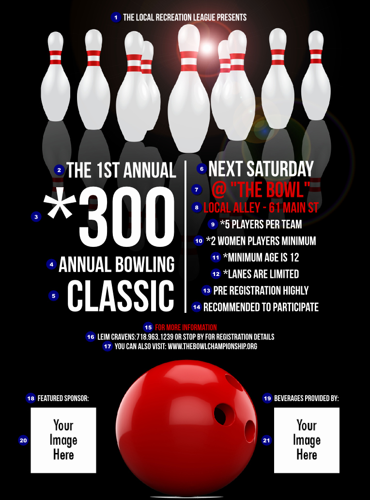 Bowling Fundraiser Flyer Template Unique Bowling Classic Flyer