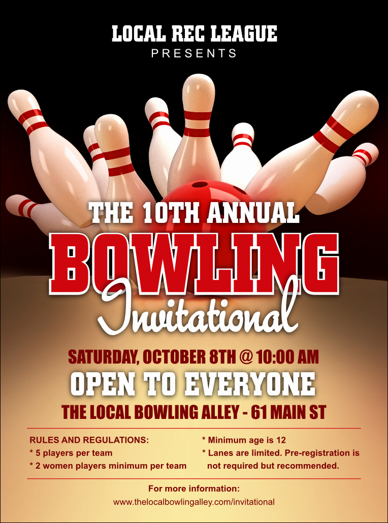 Bowling Fundraiser Flyer Template Unique Bowling League Flyer