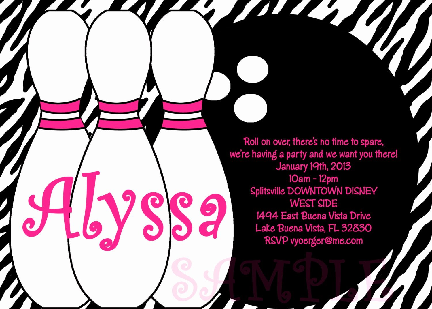 Bowling Invitation Template Free Awesome Bowling Birthday Party Invitations Printable or Printed