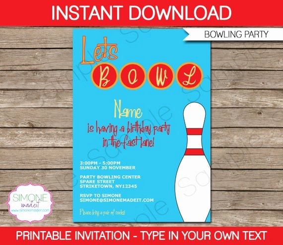 Bowling Invitation Template Free Best Of Bowling Invitation Template Birthday Party Instant