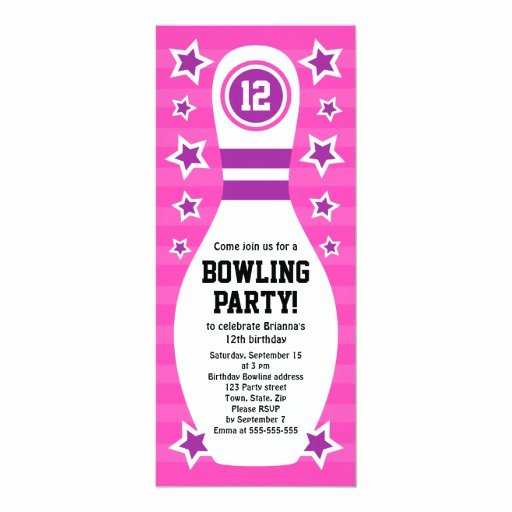 Bowling Party Invitation Template Beautiful Bowling Pin Birthday Party Invitation with Stars