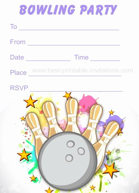 Bowling Party Invitation Template Free Awesome Free Printable Bowling Invitations