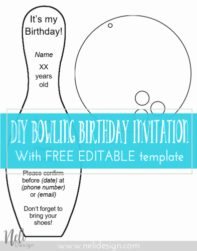 Bowling Party Invitation Template Free Beautiful Diy Bowling Birthday Invitations
