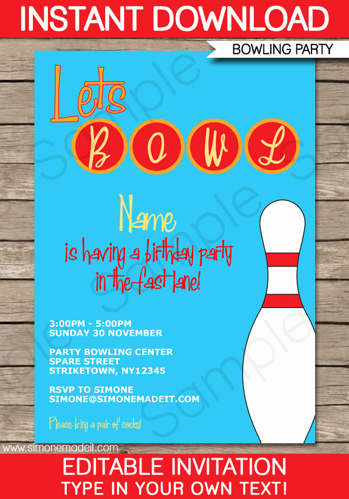 Bowling Party Invitation Template Free Fresh Free Bowling Party Invitation Printable
