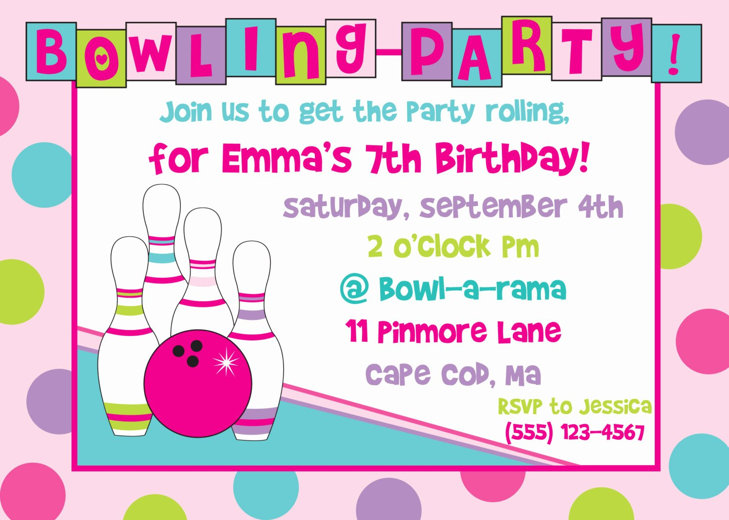 Bowling Party Invitation Templates Elegant Bowling Birthday Party Invitation Girl by Anchorbluedesign