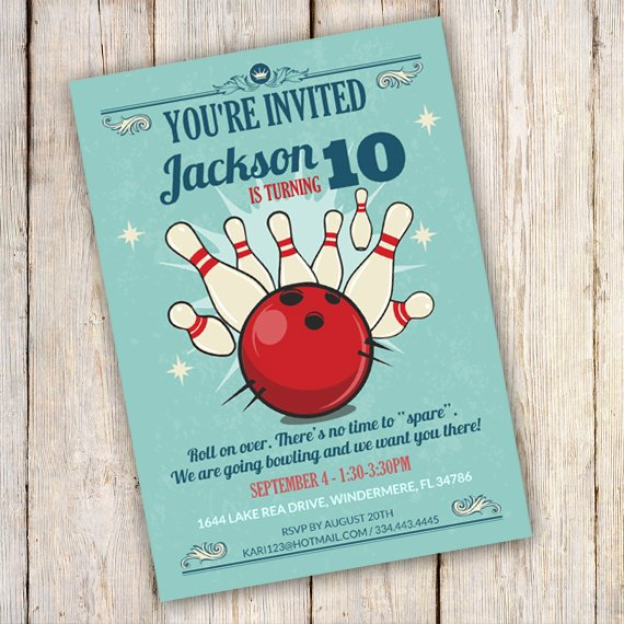 Bowling Party Invitation Templates Elegant Bowling Birthday Party Invitation Template Edit with