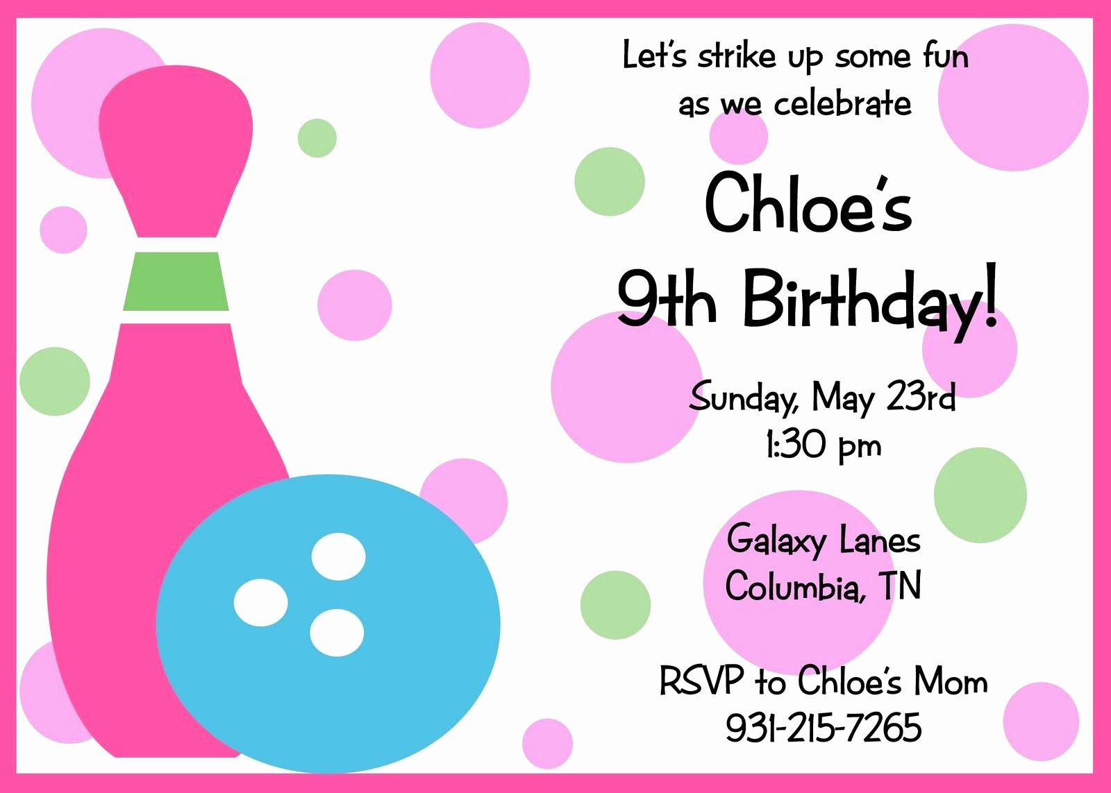 Bowling Party Invitation Templates Free Beautiful Free Printable Birthday Invitations Templates