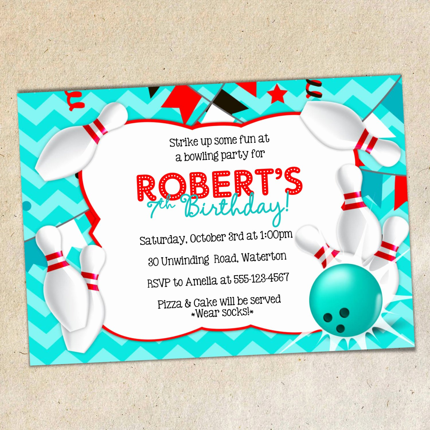 Bowling Party Invitation Templates Free Fresh Bowling Party Invitation Template Chevron Background