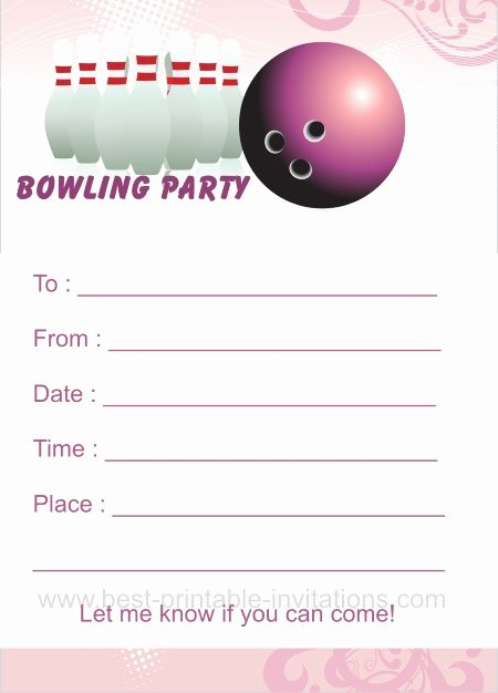 Bowling Party Invitation Templates Free Lovely Bowling Birthday Party Invitations