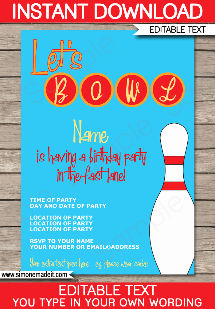 Bowling Party Invitation Templates Free New Bowling Party Invitations Template