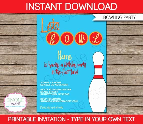 Bowling Party Invitation Templates Fresh Bowling Invitation Template Birthday Party Instant