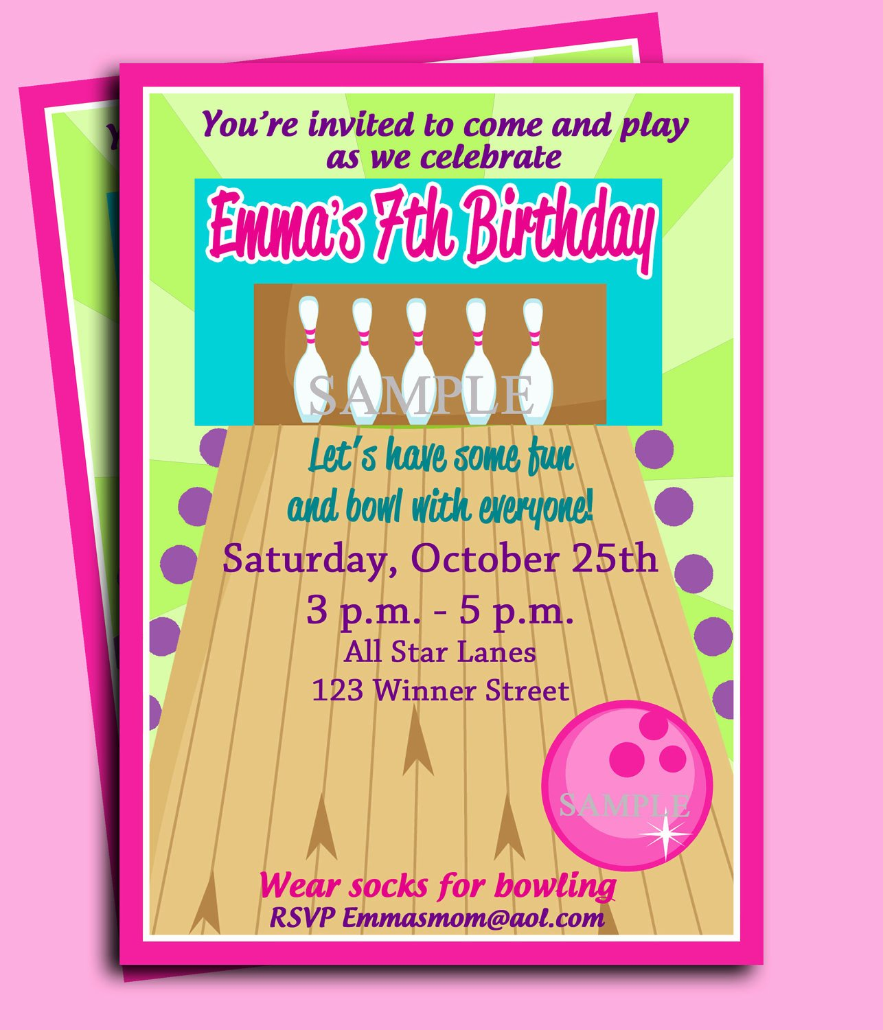 Bowling Party Invitations Templates Beautiful Bowling Party Birthday Invitation Printable or Printed with