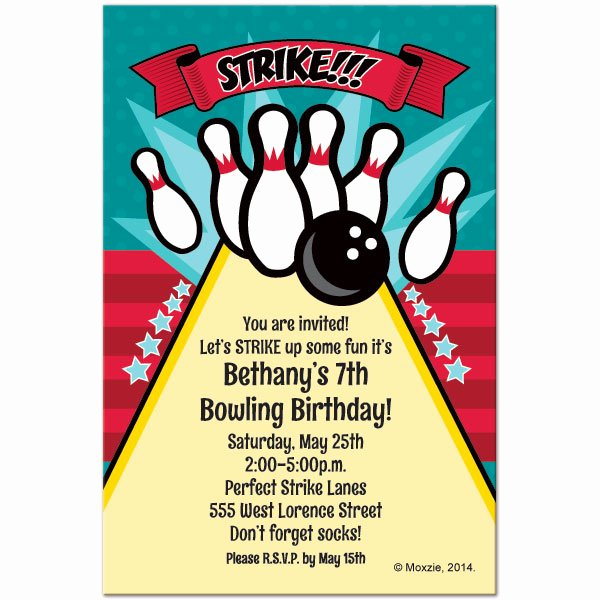 Bowling Party Invitations Templates Beautiful Free Printable Bowling Birthday Invitations
