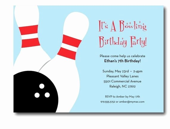 Bowling Party Invitations Templates Free Elegant Bowling Birthday Party Invitation Printable