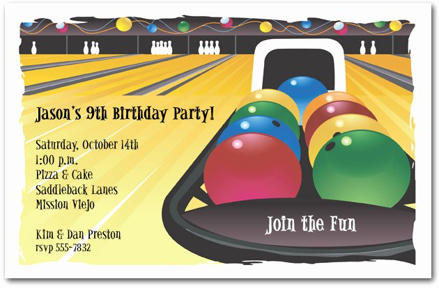Bowling Party Invitations Templates Free Lovely Bowling Invitation Bowling Birthday Invitation