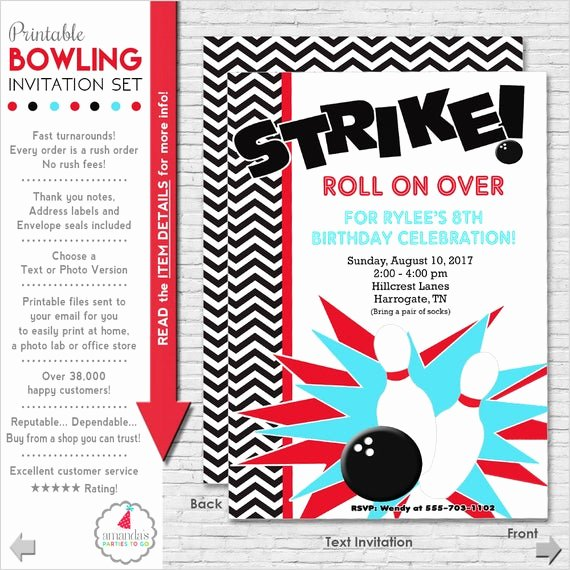 Bowling Party Invitations Templates Free Luxury Bowling Party Invitation Bowling Birthday by Amandaspartiestogo