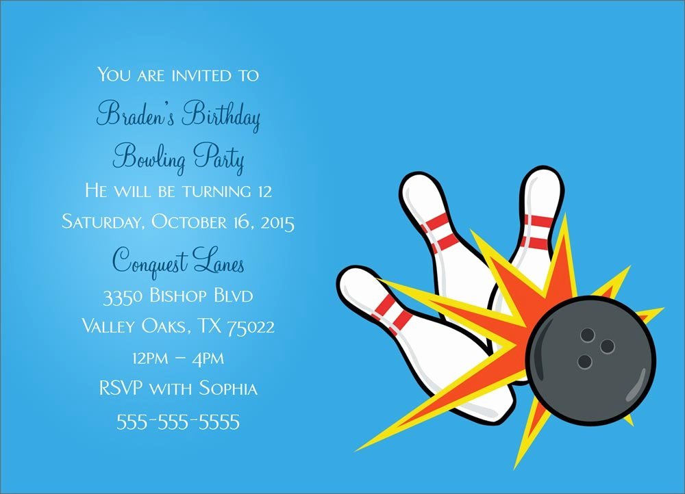 Bowling Party Invitations Templates Fresh Bowling Party Invitation Party Greeting Cards by Cardsdirect