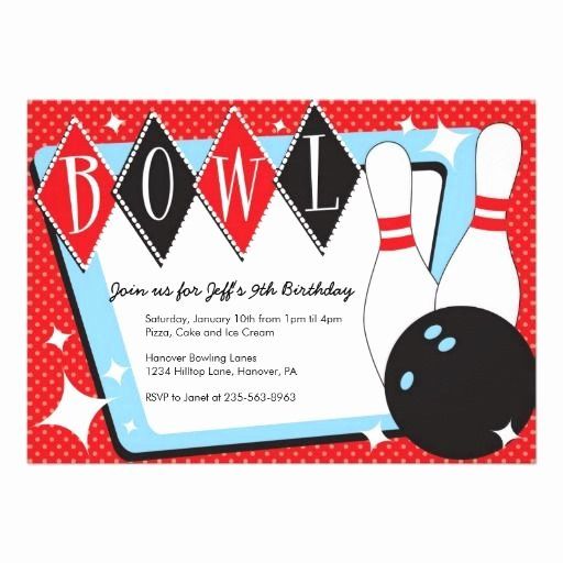 Bowling Party Invitations Templates Inspirational Bowling Birthday Party Invitations Zazzle Bowling Birthday Party Invitations
