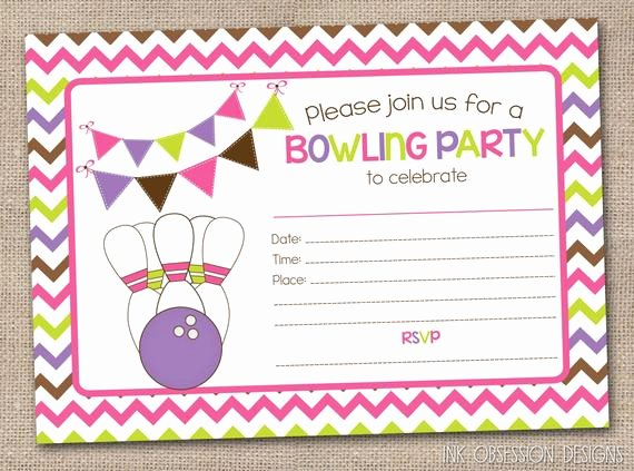 Bowling Party Invitations Templates Inspirational Printable Girls Bowling Party Invitation by Inkobsessiondesigns