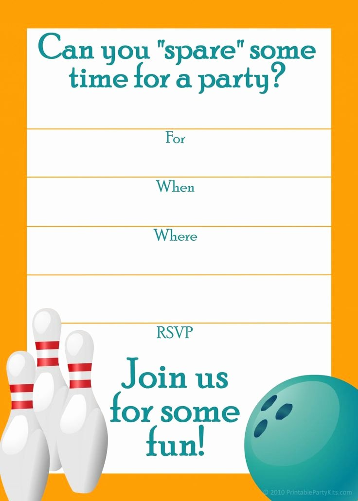 Bowling Party Invite Template Beautiful Free Printable Sports Birthday Party Invitations Templates