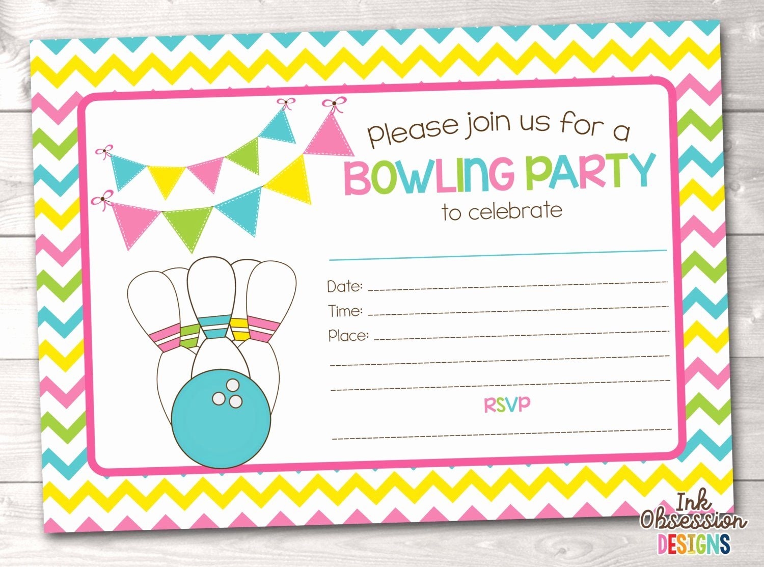 Bowling Party Invite Template Beautiful Printable Bowling Party Invitation Fill In the Blank Birthday