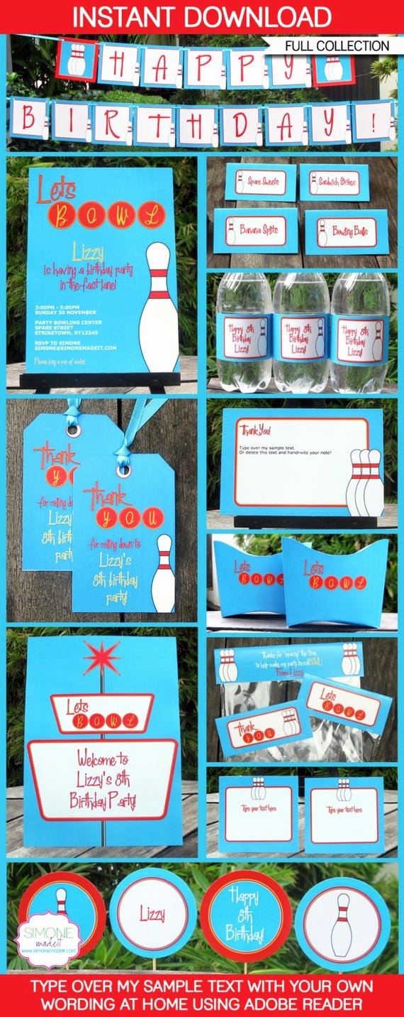 Bowling Party Invite Template Fresh Bowling theme Party Invitations & Decorations Full Printable