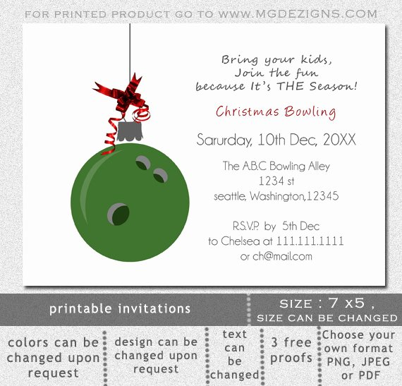 Bowling Party Invite Template Inspirational Items Similar to Printable Green Bowling Ball ornament Christmas Bowling event Holiday Party